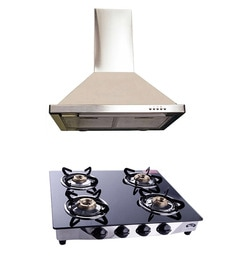 Hawk Alfa 60 Cm Hood Chimney With Lifetime Warranty And 3 Free Services & 4 Burner Gas Hob Combo