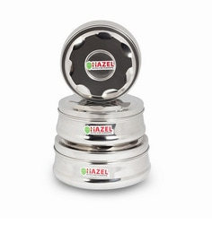 Hazel Silver Stainless Steel Round 1000 Ml, 1400 Ml, 1800 Ml Container - Set Of 3