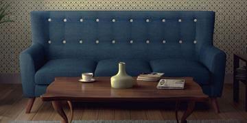 Havana Three Seater Sofa In Oxford Blue Colour