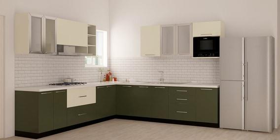 Haile L Shaped Modular Kitchen Designed In MDF With White U0026 Black Laminate