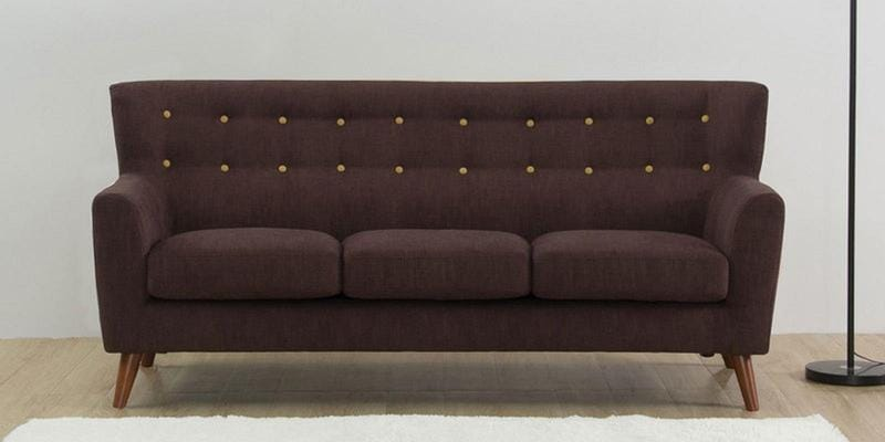 Havana Three Seater Sofa in Dark Brown Colour by CasaCraft