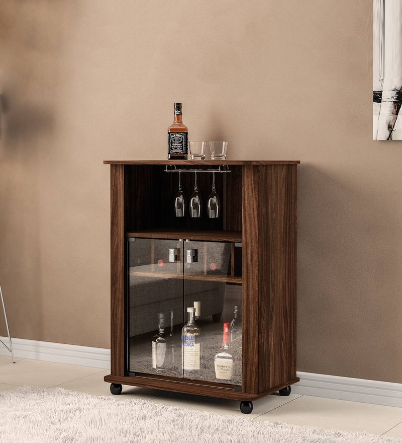 Hakushu Bar Cabinet in Walnut Brown Finish by Mintwud