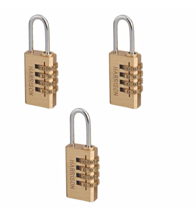 Harrison Travel Series Combination Brass Pk-2/101 Lock - Set of 3