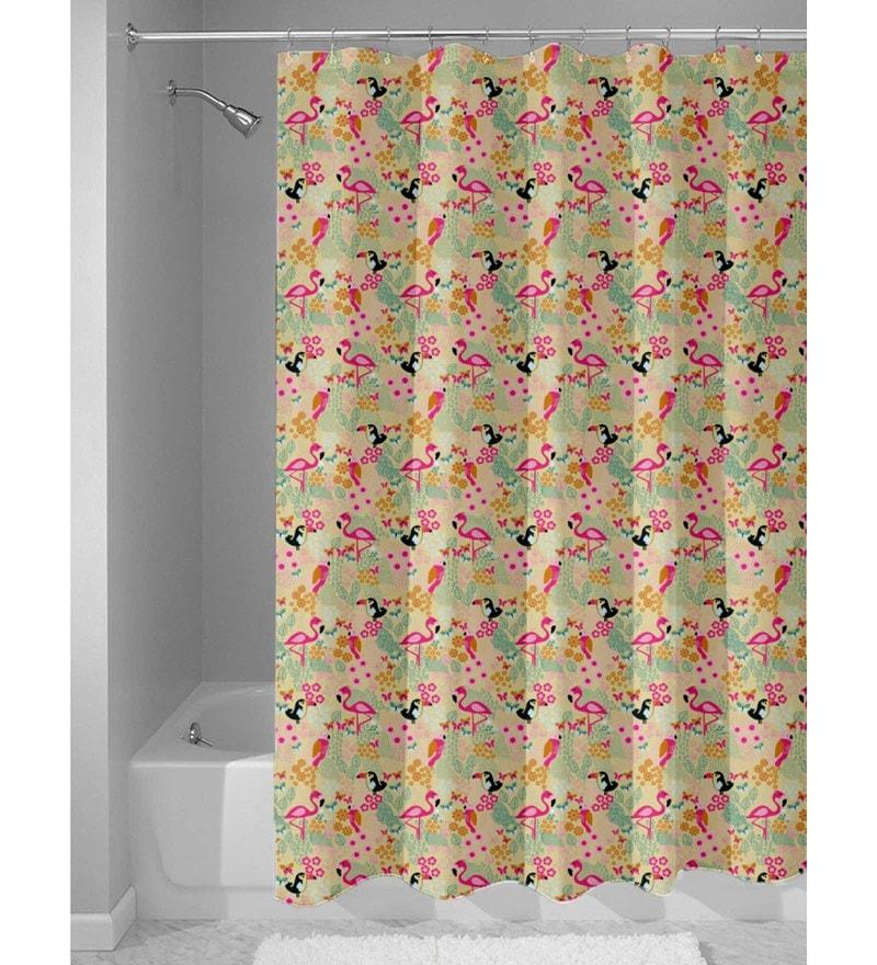 Beige Nylon 84 x 48 Inch Shower Curtain by Haus and Sie