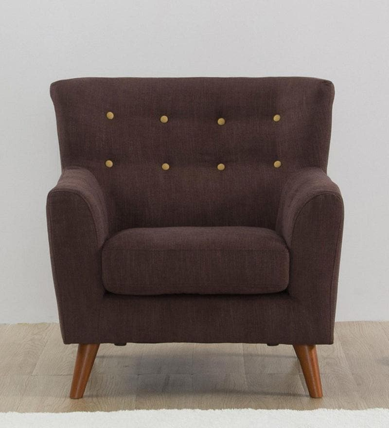 Havana One Seater Sofa in Dark Brown Colour by CasaCraft