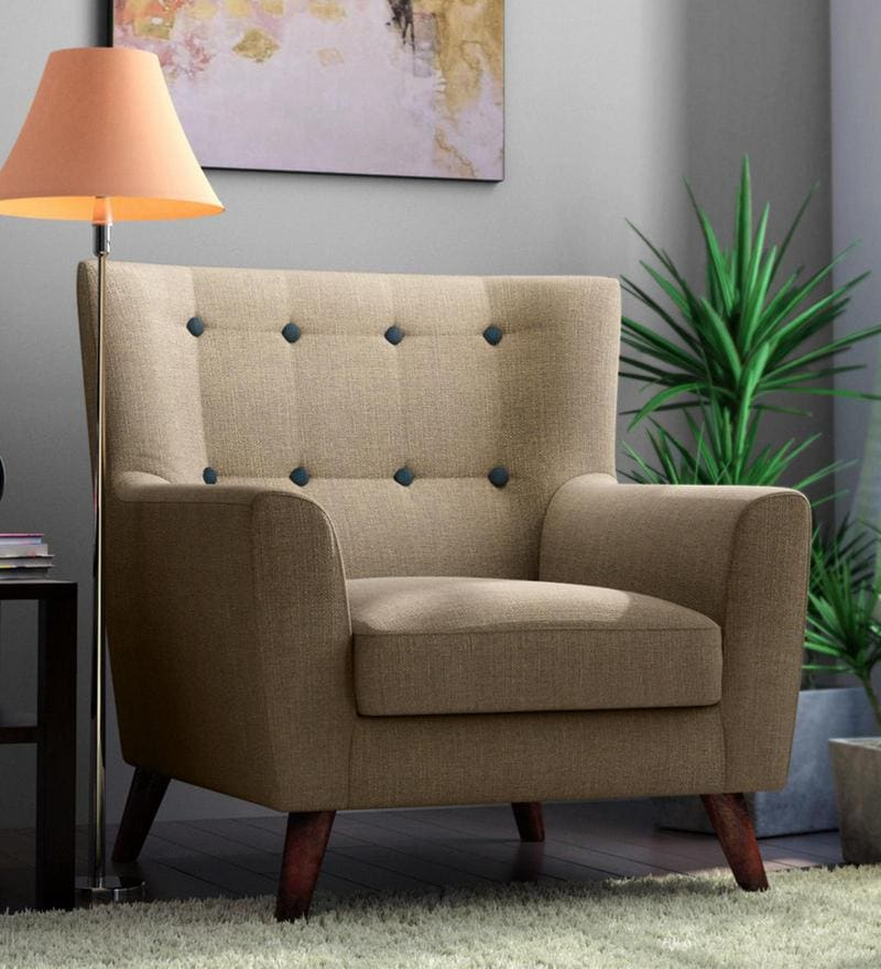 Havana One Seater Sofa in Ecru Colour by CasaCraft