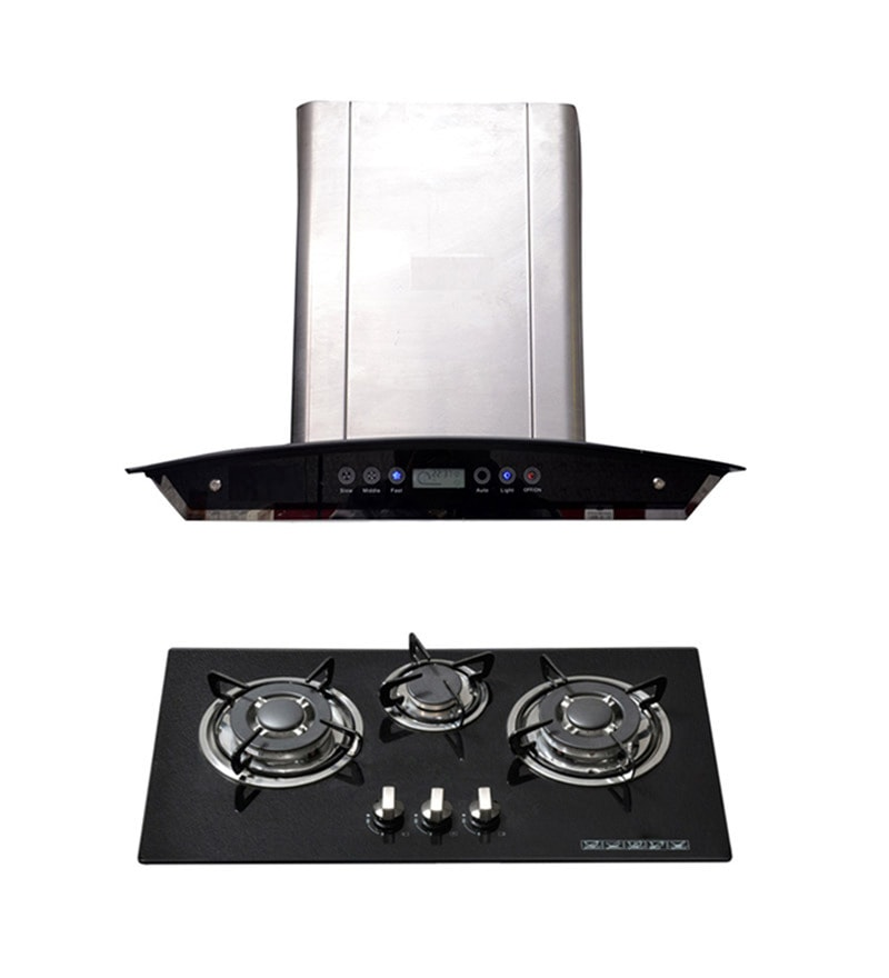 Hawk 102 60 Cm Hood Chimney & 3 Burner Auto Ignition Hob Combo