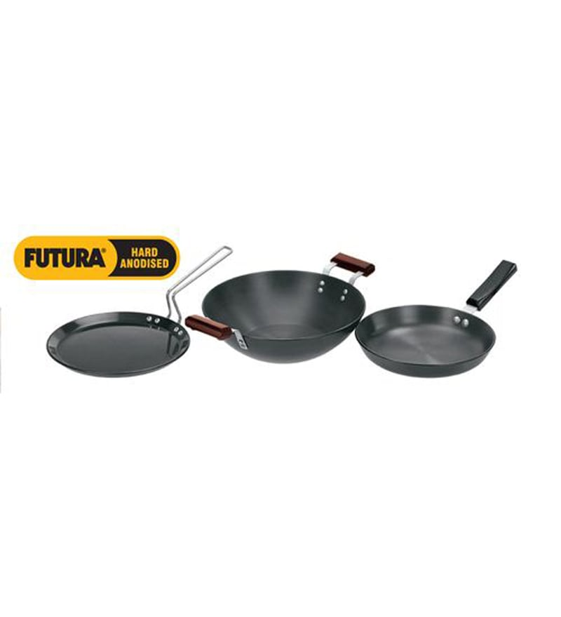 Cookaid black 3 pcs stainless steel cookware set by for Kitchen set 4 x 3