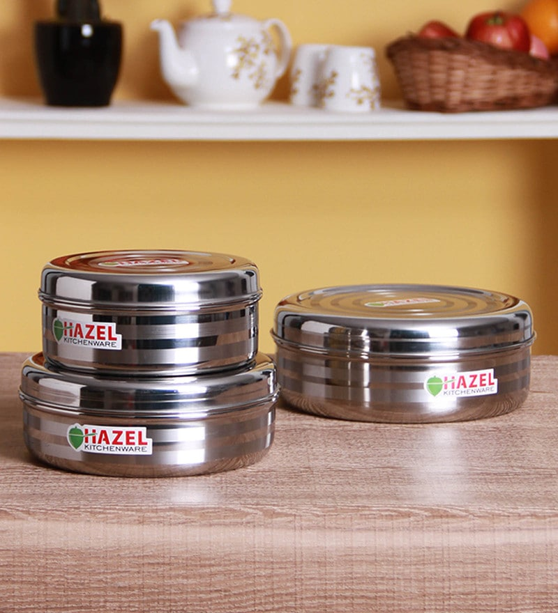 Buy Aristo Silver Storage Container Set of 3 Online Airtight