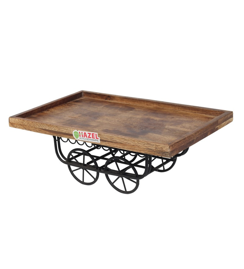 Hazel Handicraft Hand Cart with Wheel Brown Wood Serving Plate