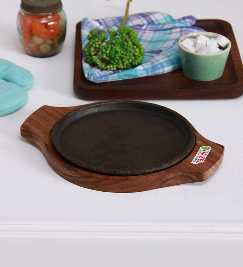 Hazel Wood & Metal Sizzling Brownie Sizzler Plate with Base