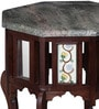 Smythe End Table with Bidasar Marble Top in Rose Wood Finish by Amberville