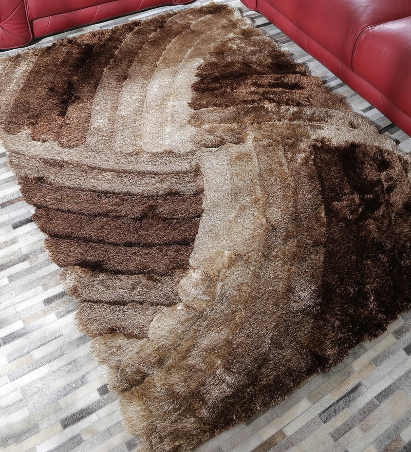 HDP Beige & Brown Polyester 49 x 69 Inch Shaggy Carpet