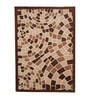 Beige & Brown Wool 80 x 56 Inch Indian Hand Tufted Carpet by HDP