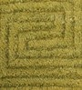 HDP Green Wool 80 x 56 Inch Indian Hand Woven Carved Carpet