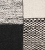 Grey & Black Recycled Saree Silk & Wool 80 x 56 Inch Hand Made Flat Weave Carpet by HDP
