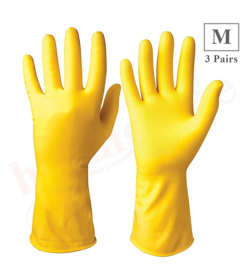 Healthgenie Medium Latex Flocklined Household Multi-Purpose Glove - Set of 3