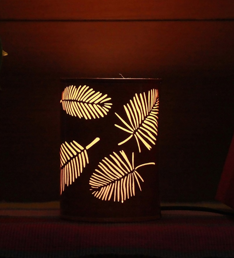 Orange Metal Palm Tree Leaf Night Lamp by Aasras
