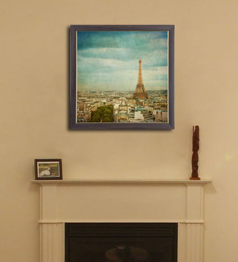 PVC 12 x 12 Inch Eiffel Tower Framed Wall Painting by Height of Designs