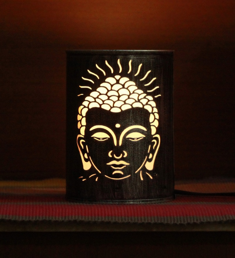 Silver Iron Lord Budha Table Lamp by Aasras