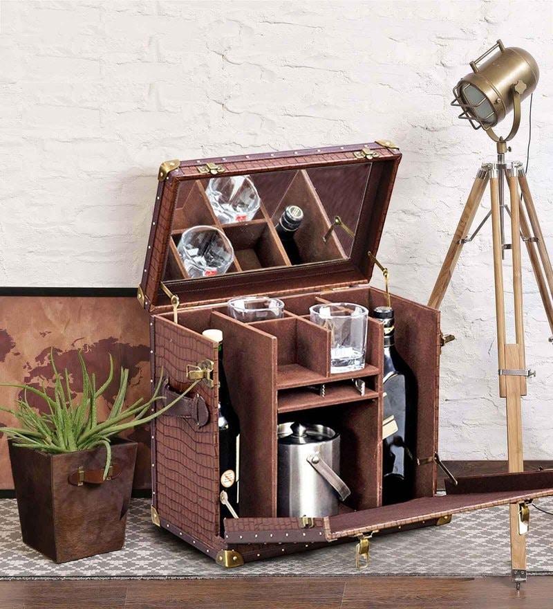 Heritage Mini Bar Trunk in Brown Colour by Studio Ochre