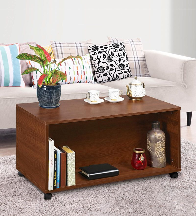 hero portable coffee table in acacia dark colour by delite kom