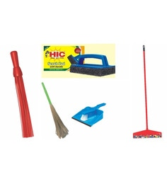 HIC Plastic Elegant Floor & Tile Cleaning Set - Set Of 5
