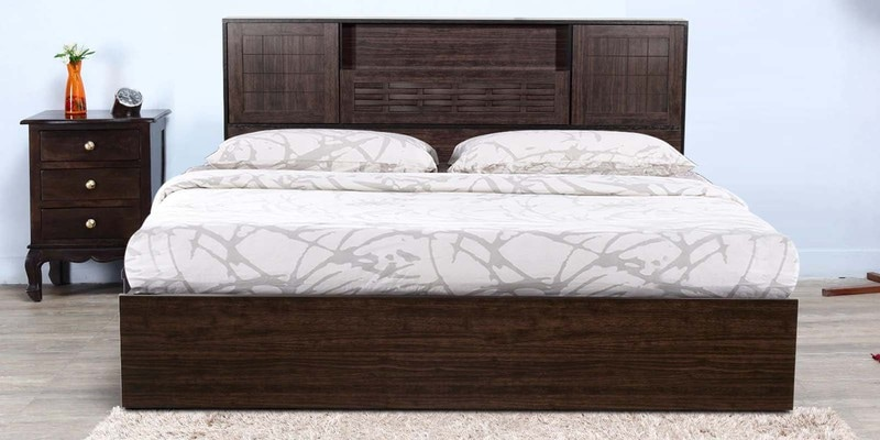 Hideki Blackline Queen Size Bed with Hydraulic Storage in Wenge Finish by Mintwud