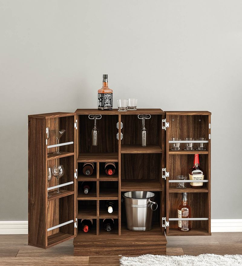 Hibiki Bar Cabinet in Walnut Brown Finish by Mintwud