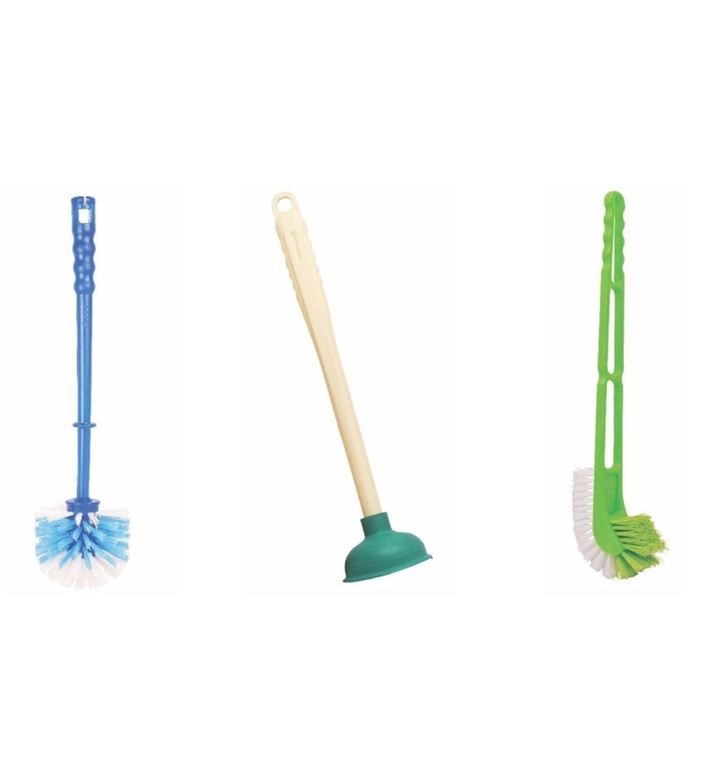 HIC Combo Double Hockey Toilet Brush + Round Brush + Big Plunger - (Color May Vary)