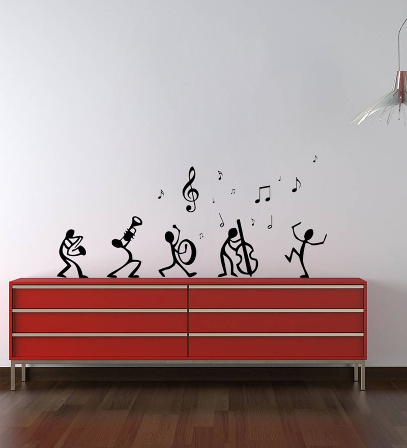 Black Self Adhesive Polyvinyl Film Dancing Notes Wall Decal by Highbeam Studio
