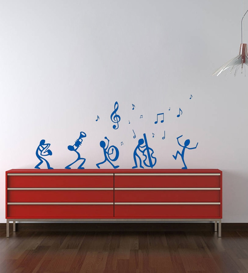 Blue Self Adhesive Polyvinyl Film Dancing Notes Wall Decal by Highbeam Studio