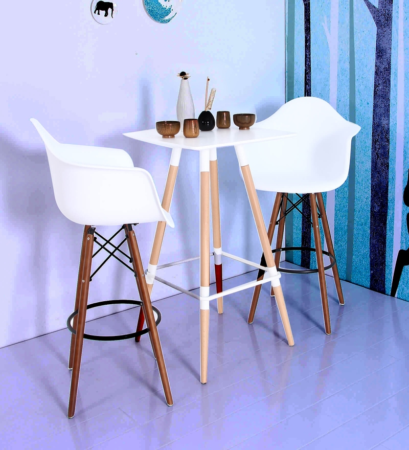 Hiroko Bar Chair (Set of 2) in White Colour by Mintwud
