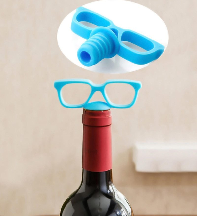 Hitplay Blue Eye Glasses Wine Stopper - Set of 2