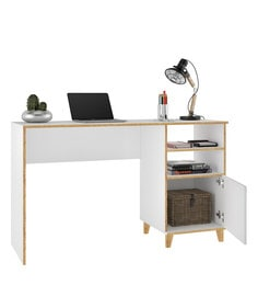... Hokuo Study Table In White U0026 Pine Finish