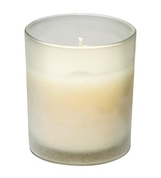 Home Artisan White Glass & Wax Frosted Glass Candles - Set Of 3