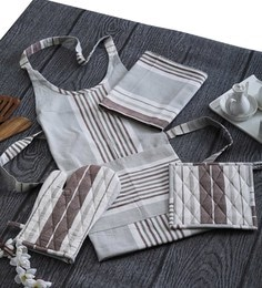 Home Boutique Brown Check Print Aprons Set With Gloves,Pot Holder,Kitchen Towel Set Of 6