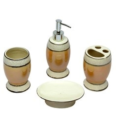 Home Creation Cream Ceramic Accessories Set - Set of 4 (Model: Bathset-127