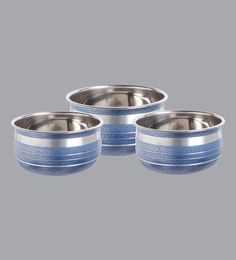 Home Creations Stainless Steel Blue Handis (1000 ML,600 ML & 400 ML) - Set Of 3