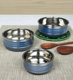 Home Creations Stainless Steel Handi Set (1000 ML,600 ML & 400 ML) - Set of 3