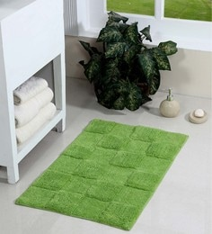 Homefurry Green Cotton 32 X 20 Inch Glossy Tiles Bath Mat