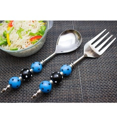 Homesake India Black And Blue Stainless Steel 2-piece Noodle Server Set