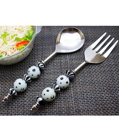 Homesake India Black And White Stainless Steel 2-piece Noodle Server Set