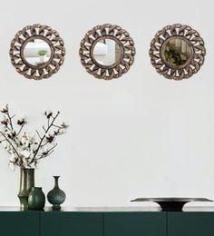Hosley Set Of 3 Decorative Antique Bronze Wall Mirror