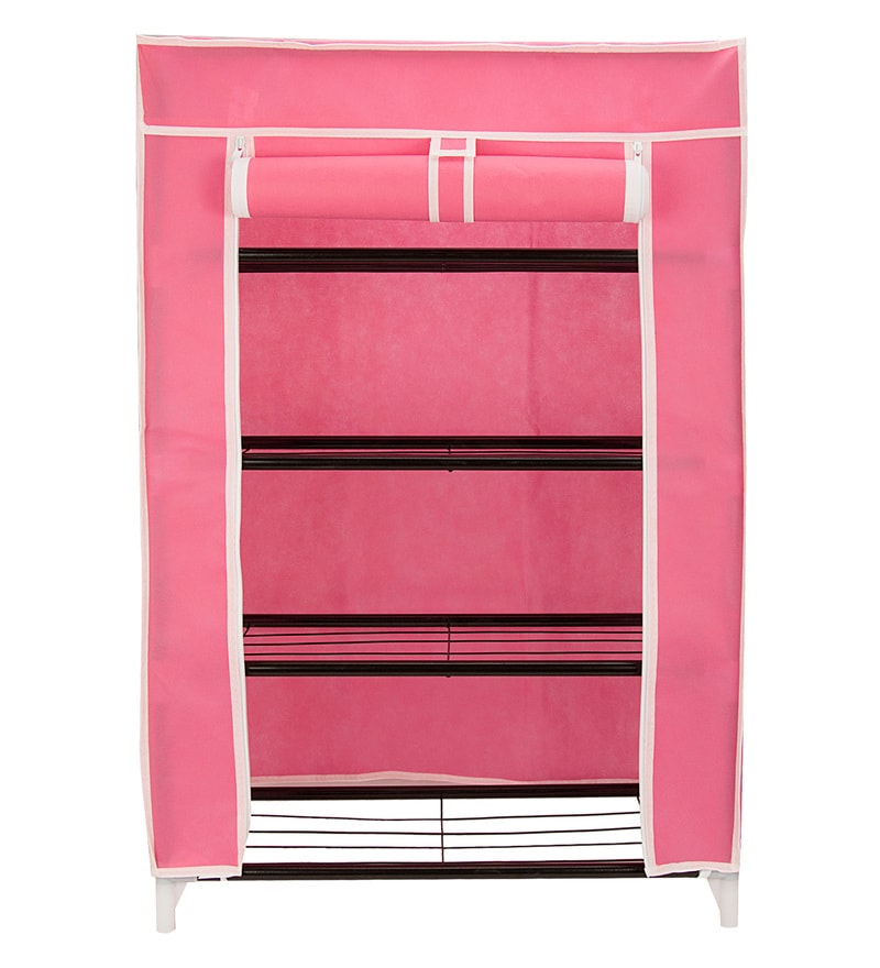 Buy Home Creation Collapsible Pink Metal Storage Cabinet & Shoe ...