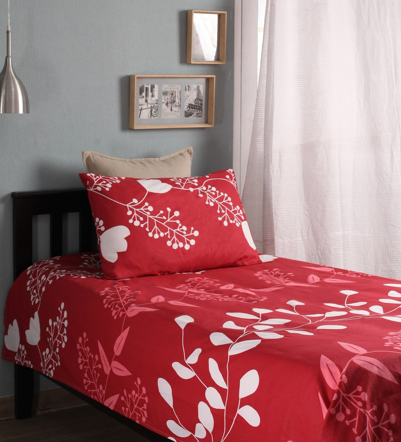 Red Cotton Single Size Bed Sheet - Set of 2 by Home Ecstasy