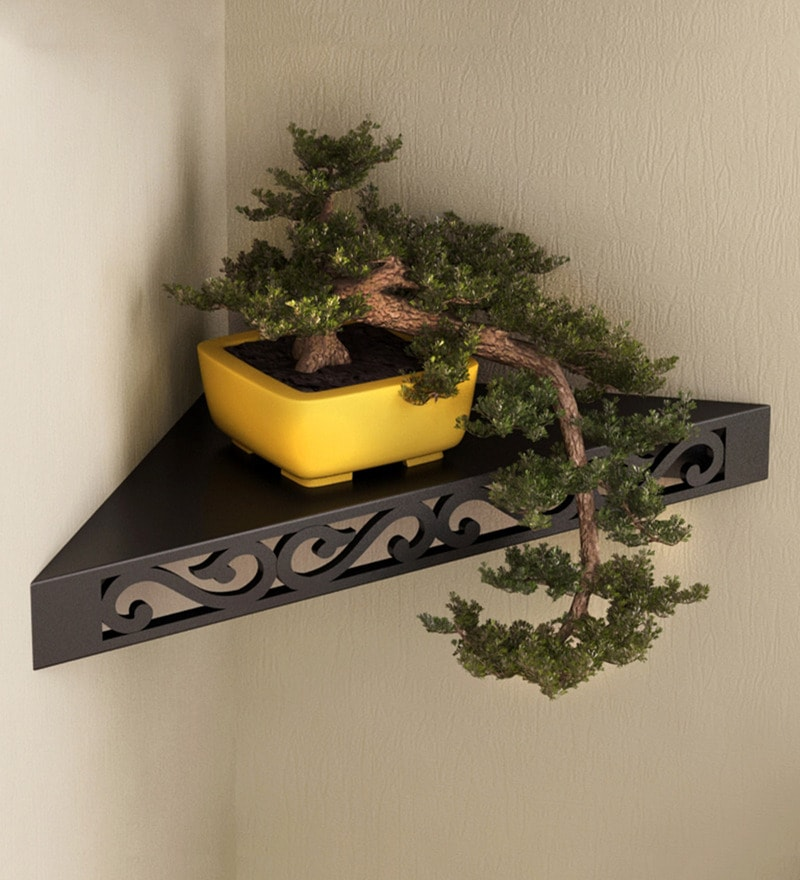 Black Engineered Wood Corner Wall Shelf by Home Sparkle