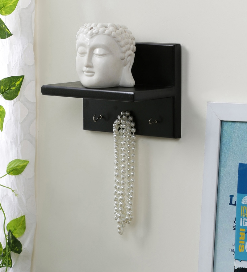 Black Engineered Wood Wall Shelf with Key Hanger by AYMH