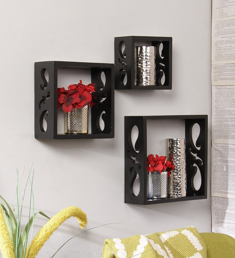 Black Engineered Wood Wall Shelves - Set of 3 by Home Sparkle