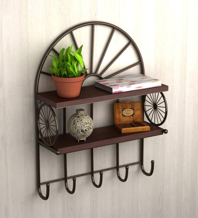 Brown & Black Wood & Mild Steel Wall Shelf by Home Sparkle
